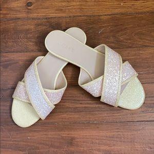 JCrew gold glitter slide sandal size 8!